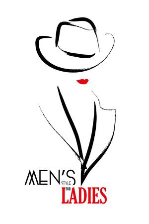 kapelusze: Wektor ręcznie rysowany portret młodych mężczyzn w stylu dziewczyna. Biorąc pod uwagę okładkę magazynu, Journal artykułu, druk, projektowanie opakowań, sklepu i magazynu logo. Ilustracja