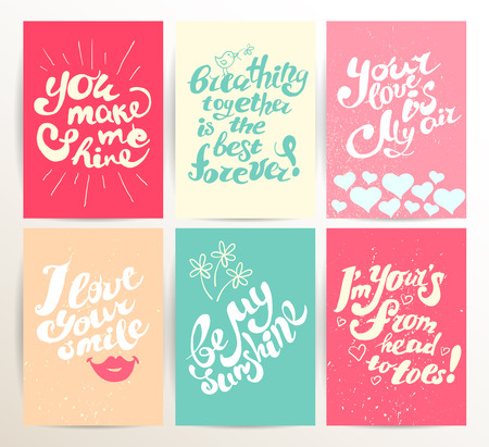 Vector postcard design template with lettering. St. Valentine's day congratulations. Hand drawn invitation, card, flyer, leaflet sample. Cute and warm regards.