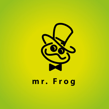 rana: logotipo de plano simple del vector con el car�cter de la rana. rana ilustraci�n linda amistad. Logo e insignias plantilla bueno para los animales, tienda de mascotas, tiendas de juguetes de ni�os, los mercados del parque zool�gico, las empresas ecol�gicas y de negocios.