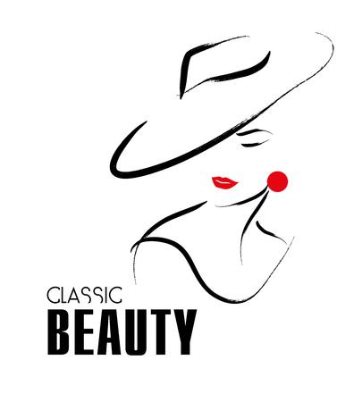 elegante: Drawn Vector main portrait de jeune fille élégante isolé sur fond blanc. Conseillé pour couverture de magazine, article de journal, impression, conception d'emballage, boutique et magasin logo.
