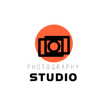 Vector template of flat modern photo logo. Digital photo logothype design. Simple and minimalistic photo icon. Good for photo studio, shop and store insignia. Illustration