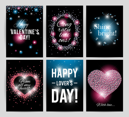 regards: Vector valentines day card design. Love postcard, wedding invitation, anniversary, happy birthday party flyer or leaflet template. Gift, present card sample with warm and best regards. Illustration
