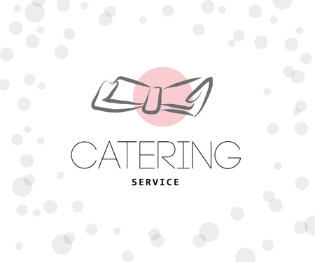 Vector template of catering company logo. Restaurant, catering, outdoor events and restaurant service insignia, food icons. Hand drawn elements.