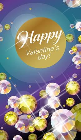 rhinestone: Vector congratulation card for Valentines day. Love post card design template with congratulations and rhinestone crystal background.