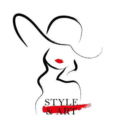 Vector Hand Porträt der jungen stilvollen Mädchen getrennt auf weißem Hintergrund gezeichnet. Gut für Magazin-Cover, Zeitschriftenartikel, Print, Packaging Design, Shop- und Store-Logo. Standard-Bild - 51647227