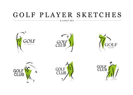 벡터 평면 골프 로고 디자인. 골프 플레이어 아이콘, 스포츠 로고, 골프 클럽 휘장, 인쇄 사이트 디자인, 어떤 광고 샘플. 일러스트