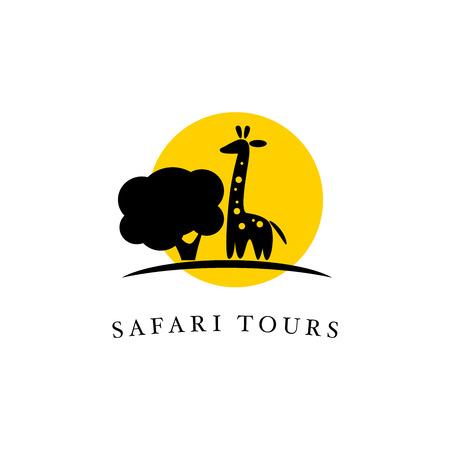 Vector giraffe logo illustration. Wild animal logo. Giraffe icon good for park, shelter, reserve, pet shop, touristic, safari travelling company, cosmetic brand, kid toys store.