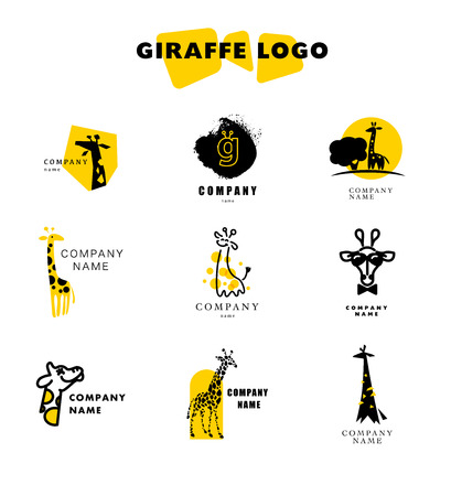 Vector giraffe logo illustration. Wild animal logo. Giraffe icon collection, good for park, shelter, reserve, pet shop, touristic, safari travelling company, cosmetic brand, kid toys store. Stock Illustratie