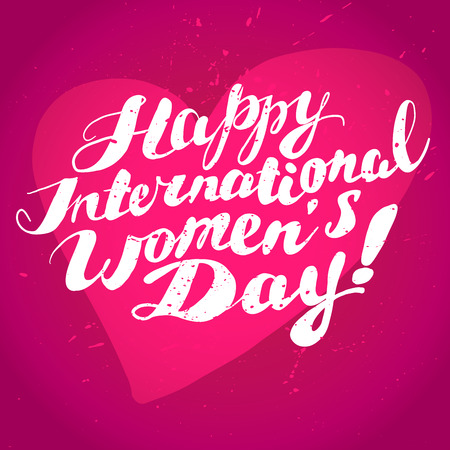 Vector women's day card template. Invitation card, congratulation flyer, celebration postcard, leaflet, print design. Lettering, text message, best wishes, warm regards card.