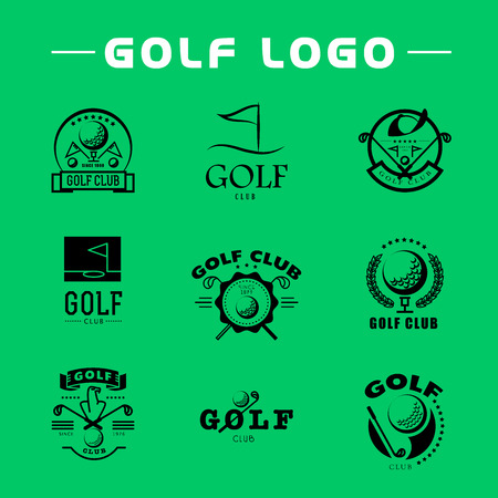Vector flat golf logo design. Golf player icon, sport logo, golf club insignia, print desig, any advertising sample. Stock fotó - 52808208