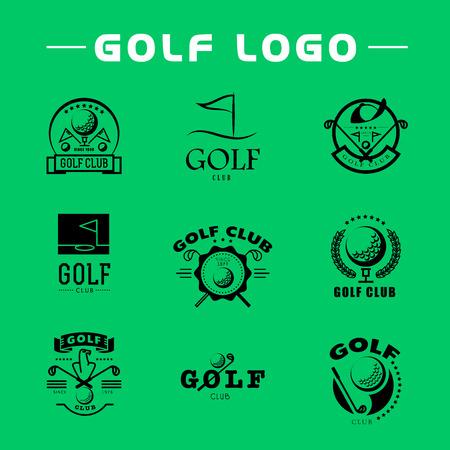 Vector flat golf logo design. Golf player icon, sport logo, golf club insignia, print desig, any advertising sample. Vettoriali