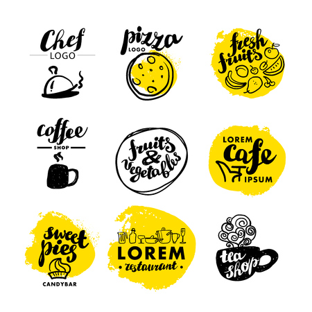 Hand written font lettering. Cute hand drawn logo template. Good for cafe, catering, restaurant insignia, print, menu cover, any advertising, leaflet, flyer, card design. Stock Illustratie
