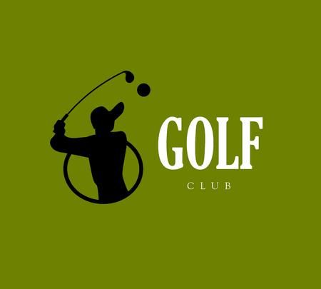 desig: Vector flat golf logo design. Golf player icon, sport logo, golf club insignia, print desig, any advertising sample. Illustration