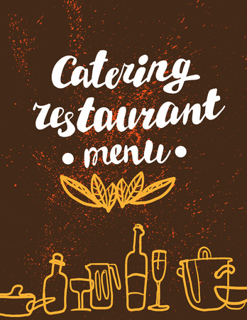 Hand written font lettering. Cute hand drawn logo template. Good for cafe, catering, restaurant insignia, print, menu cover, any advertising, leaflet, flyer, card design. Ilustrace