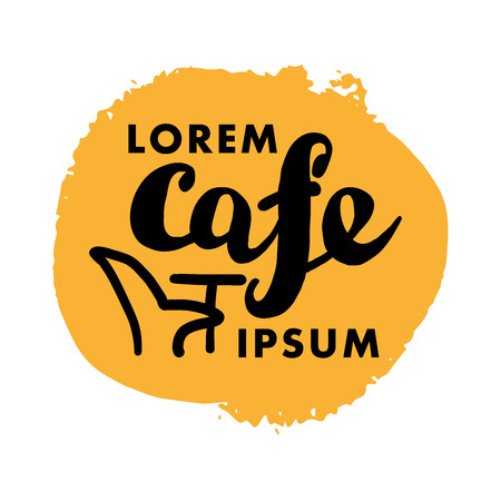 font design: Hand written font lettering. Cute hand drawn logo template. Good for cafe, catering, restaurant insignia, print, menu cover, any advertising, leaflet, flyer, card design. Illustration