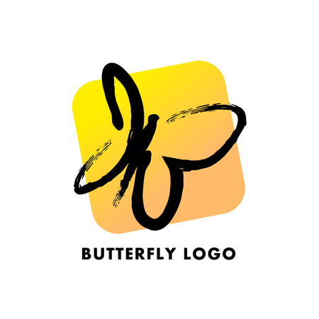 clothes shop: Abstract logo with butterfly character. Simple insect icon. Good for floral store, clothes shop, children toys store, artistic gallery, print design.