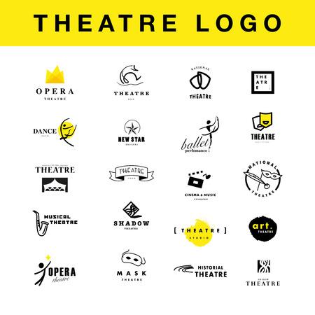 벡터 연극과 발레 perfomance 로고 템플릿 디자인 컬렉션. 예술 perfomance 휘장 샘플. 광고 아이콘, 그래픽 디자인, 전단지, 전단지 및 포스터 요소입니다.