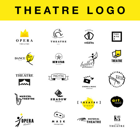 Vector theatre and ballet perfomance logo template design collection. Artistic perfomance insignia sample. Advertising icon, graphic design, leaflet, flyer and poster elements.