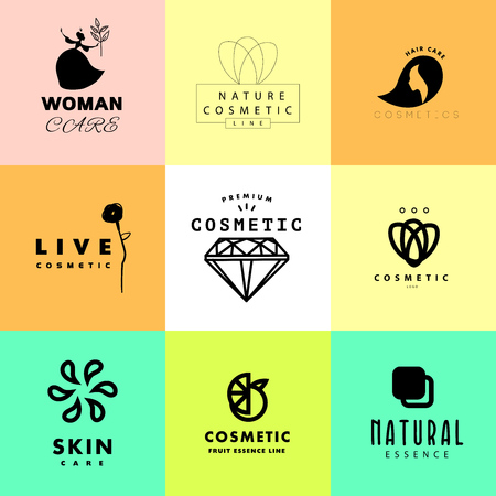 simple store: Vector simple flat cosmetic logo template collection. Minimalistic icon and logo design. Beauty industry company insignia, woman and kid care brand mark design, cosmetic store and shop logotype. Stock Photo