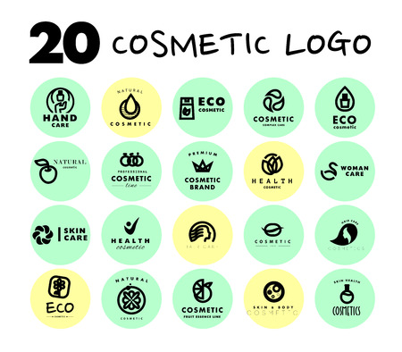 beauty care: Vector simple flat cosmetic logo template collection. Minimalistic icon and logo design. Beauty industry company insignia, woman and kid care brand mark design, cosmetic store and shop logotype. Stock Photo