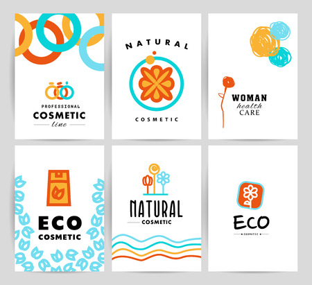beauty shop: Vector simple flat cards, laeflets, flyers with cosmetic logo template. Minimalistic icon and logo design. Beauty industry company insignia, woman and kid care brand mark design, cosmetic store and shop logotype.
