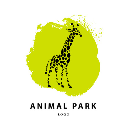 reserve: Vector giraffe logo illustration. Wild animal logo. Giraffe icon good for park, shelter, reserve, pet shop, touristic, safari travelling company, cosmetic brand, kid toys store.