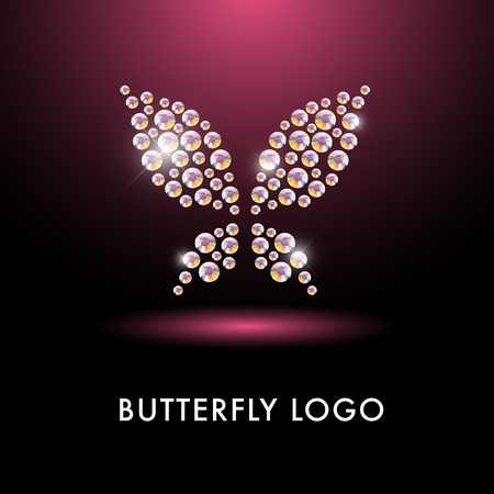 Abstract logo with butterfly character. Simple insect iconmade with rhinestone gems. Good for floral store, clothes shop, children toys store, artistic gallery, print design. Stock Photo