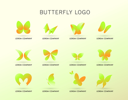 Abstract logo with butterfly character. Simple insect icon. Good for floral store, clothes shop, children toys store, artistic gallery, print design.