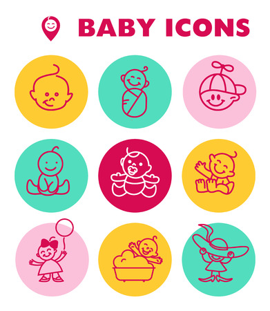 sweet baby girl: Vector simple flat kid simple icon isolated.