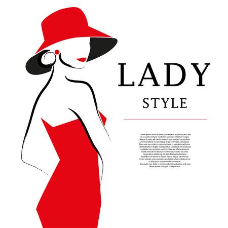 ロゴベクトルの手は、帽子の肖像画で芸術的なフラット若いスタイリッシュな女の子を描画されます。ファッションの女性モデルのスケッチ。女性