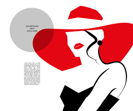 Vector hand drawn artistic flat young stylish girl in hat portrait. Fashion lady model sketch. Woman silhouette isolated on white background. Glamour, beauty illustration. Stock Photo