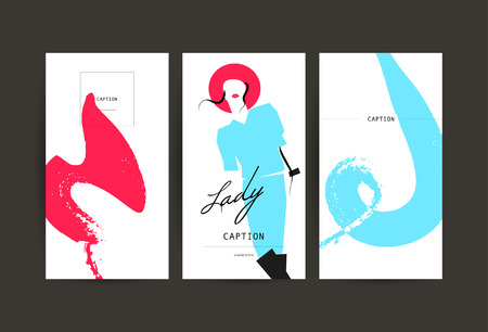 black hair blue eyes: Vector fashion cards template. Beauty invitation, leaflet, poster, placard, banner, advertising design. Hand drawn lady artistic sketch. Woman in hat. Fashion young stylish girl portrait.