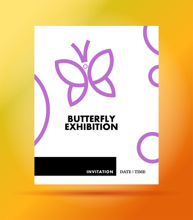 butterfly stroke: Vector flat simple minimalistic butterfly exhibition invitation template. Insect icon, butterfly sign, symbol isolated on white background. Minimalistic invitation design. Leaflet, banner, poster, placard. Stock Photo