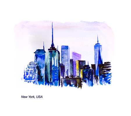 city scape: Watercolor hand drawn city scape isolated on white background. Artistic urban illustration. Ink drawing. Traveling, touricstic sightseeing. New York, USA. Stock Photo