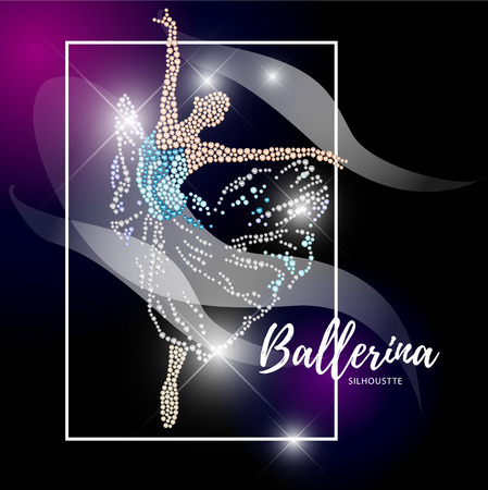 ballerina silhouette: Vector ballerina silhouette isolated on black background. Dancing lady figure. Rhinestone pattern. Crystal jewelry young girl portrait, ballet illustration picture. Card design.