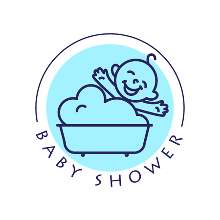shower bath: Vector simple flat kid. Stock Photo