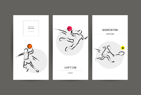 sportsmen: Vector hand drawn sportsman silhouette. Flat sport advertising design template collection. Basketball, handball, badminton. Placard, poster, banner, leaflet, card. Human figure.