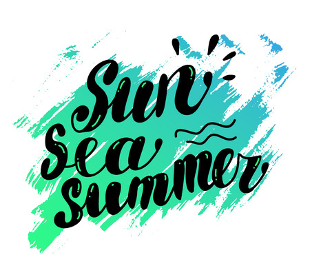 hand written: Hand drawn summer card. Letternig, text message isolated on white background. Hand written font, abc. Ink drawing. Summer greeting, vrush stroke, color spot. Stock Photo