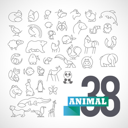 animal cock: Vector piatto semplice insieme animale minimalista. Archivio Fotografico