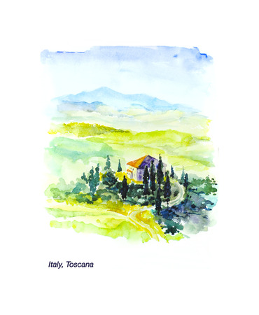 mountain road: Watercolor hand drawn landscape isolated on white background. Artistic nature illustration. Ink drawing. Traveling, touricstic sightseeing. Italy, Toscana.