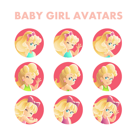 blonde little girl: Vector baby girl portrait collection isolated. Smiling happy little girl avatars set. Cartoon style. Different pose collection. Summer children illustration. Long blonde hair. Flat kid icon.