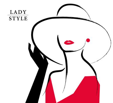 벡터 예술적 손으로 그린 세련 된 젊은 아가씨 초상화 흰색 배경에 고립. 패션 소녀, 모델입니다. 모자에 여자입니다. 아름다움 그림, 요소 디자인