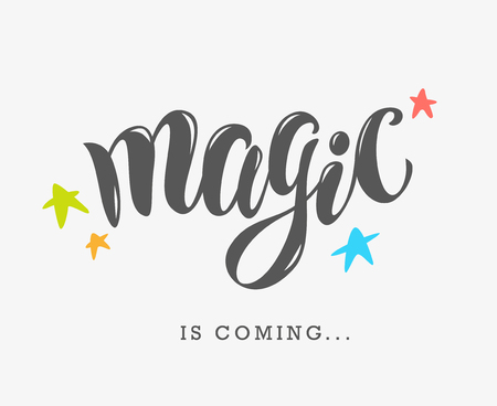 hand written: Vector hand written text magic word isolated. Card, congratulation, greeting. Party poster, advertising, banner, placard design template. Hand written font, abc, script, lettering. Colorful flat stars