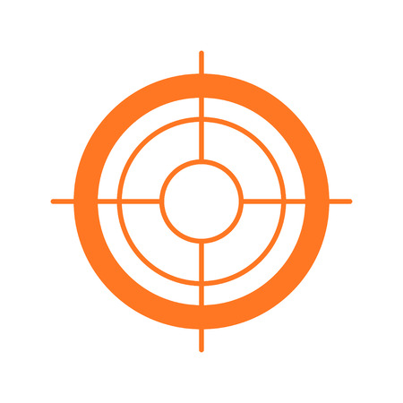 Vector objeto plana icono aislado sobre fondo blanco. objetivo del juego diseño de la muestra de símbolos. Sniper marca de disparo. Ilustración de vector