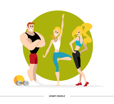friendly people: Vector flat profession characters. Human profession icon. Friendly, happy people portrait.  Sport team, athlete group, healthy lifestyle set. Woman, girl, lady icon. Man, boy, guy icon. Cartoon style.