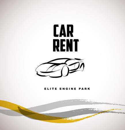 car rent: Vector car sketch isolated. Hand drawn car body. Auto advertising, poster, placard, business card, leaflet. Car rent, auto repair, auto saloon insignia. Ink drawing. Illustration