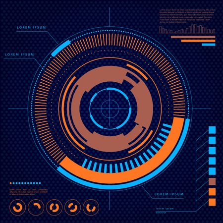interface design: Vector futuristic user interface design elements. Target, aim HUD display template illustration. Head-up concept background. Scientific screen backdrop design. Illustration
