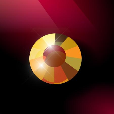 rhinestone: Vector rhinestone gem mock up. Jewelry crystal stone diamond shining illustration. Close up. Rhinestone isolated. Gradient soft light. Glass gem mock up illustration. Jewelry advertising, pattern element Illustration
