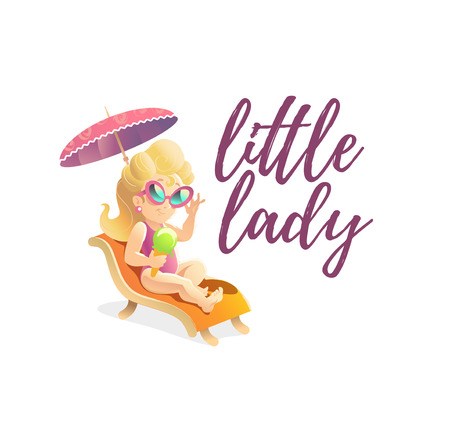 long haired: Vector smiling happy little girl portrait isolated. Baby store, girls shop insignia. Children illustration. Little lady goods market. Blonde long haired girl. Kid toys store symbol.