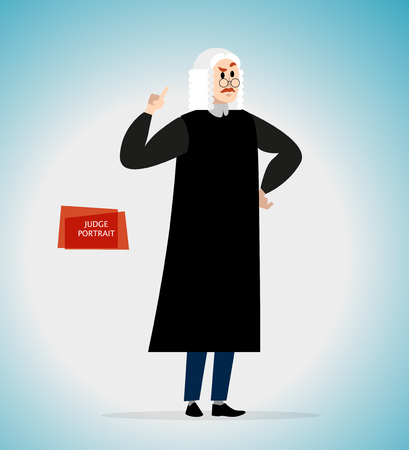 Vector flat serious lawyer person character portrait. Court judge portrait in uniform isolated. Cartoon style. Human profession icon. Man with mustache in wig and glasses.
